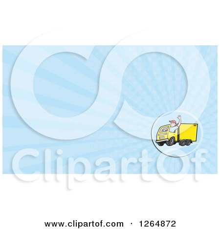 Clipart of a Delivery Man Driving a Truck and Rays Business Card Design - Royalty Free Illustration by patrimonio