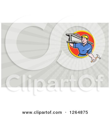 Construction Worker Carrying a Beam and Hammer and Rays Business Card Design Posters, Art Prints