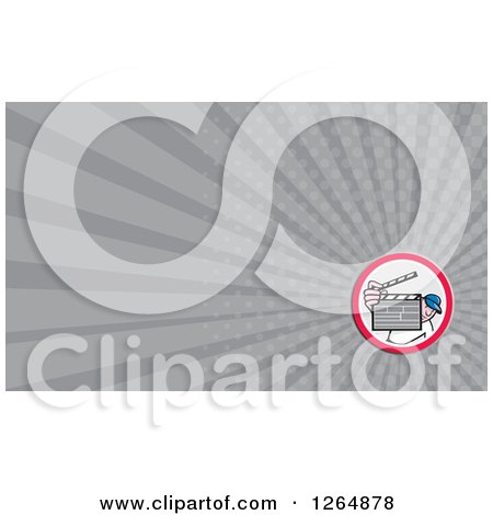 Clipart of a Movie Director Holding up a Clapper Board and Rays Business Card Design - Royalty Free Illustration by patrimonio