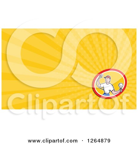 Clipart of a Male Electrician Holding a Bulb and Plug and Rays Business Card Design - Royalty Free Illustration by patrimonio