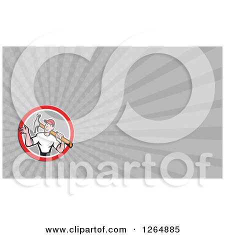 Clipart of a Handyman Carrying a Hammer and Rays Business Card Design - Royalty Free Illustration by patrimonio