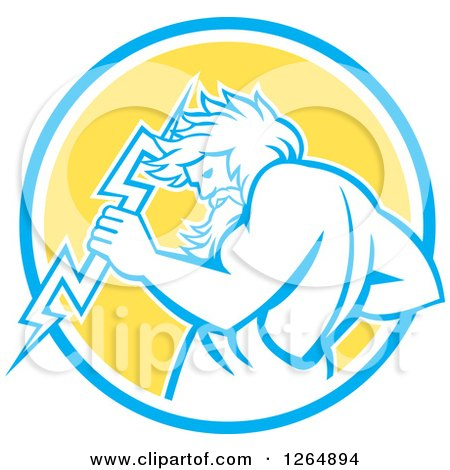 Clipart of a Retro Zeus Holding a Thunder Bolt in a Blue White and Yellow Circle - Royalty Free Vector Illustration by patrimonio
