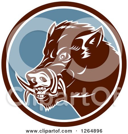 Clipart of a Retro Wild Boar Pig in a Brown White and Blue Circle - Royalty Free Vector Illustration by patrimonio