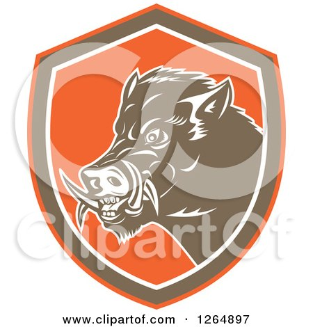 Clipart of a Retro Wild Boar Pig in an Orange Brown and White Shield - Royalty Free Vector Illustration by patrimonio