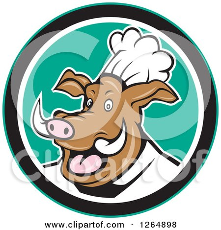 Clipart of a Carton Happy Pig Chef in a Green and White Circle - Royalty Free Vector Illustration by patrimonio