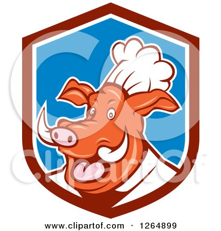 Clipart of a Carton Happy Pig Chef in a Maroon Blue and White Shield - Royalty Free Vector Illustration by patrimonio