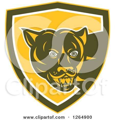 Clipart of a Cougar in a Yellow Brown and White Shield - Royalty Free Vector Illustration by patrimonio