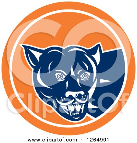 Clipart of a Blue and White Cougar in an Orange and White Circle - Royalty Free Vector Illustration by patrimonio