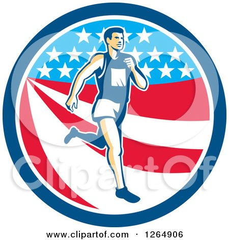 Clipart of a Retro Male Marathon Runner over an American Stars and Stripes Circle - Royalty Free Vector Illustration by patrimonio