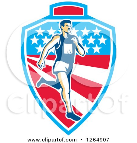 Clipart of a Retro Male Marathon Runner over a Mountain American Stars and Stripes Shield - Royalty Free Vector Illustration by patrimonio