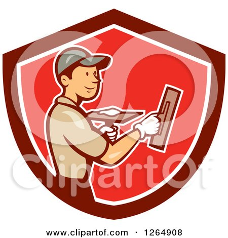 Clipart Of A Cartoon White Male Plasterer In A Red And White Shield Royalty Free Vector Illustration