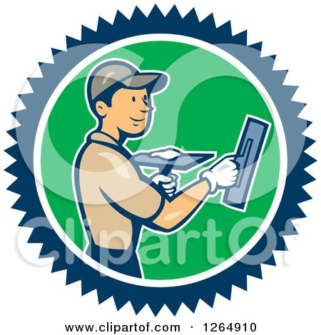 Clipart Of A Cartoon White Male Plasterer In A Blue White And Green Circle Royalty Free Vector Illustration