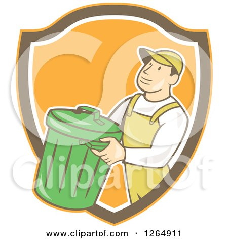 Clipart of a Retro Cartoon White Male Garbage Man Carrying a Bin in an Orange Brown and White Shield - Royalty Free Vector Illustration by patrimonio