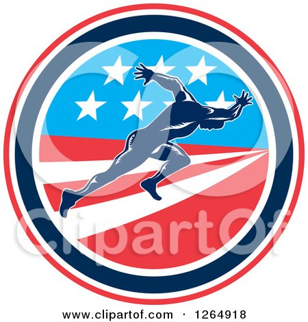 Clipart of a Retro Male Runner Sprinting in an American Flag Circle - Royalty Free Vector Illustration by patrimonio