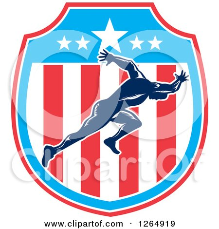 Clipart of a Retro Male Runner Sprinting in an American Flag Shield - Royalty Free Vector Illustration by patrimonio