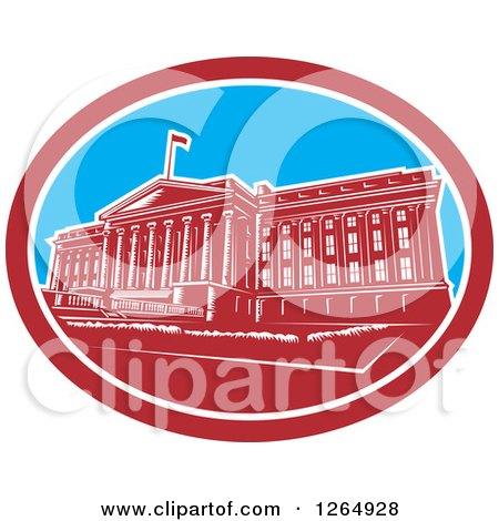 Clipart of a Retro Woodcut Facade of the Treasury Building in Washington DC - Royalty Free Vector Illustration by patrimonio
