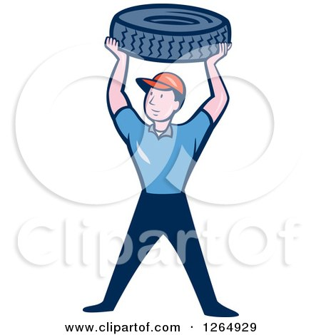 Clipart of a Cartoon Male Mechanic Worker Holding up a Tire - Royalty Free Vector Illustration by patrimonio