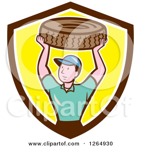 Clipart of a Cartoon Male Mechanic Worker Holding up a Tire in a Brown White and Yellow Shield - Royalty Free Vector Illustration by patrimonio