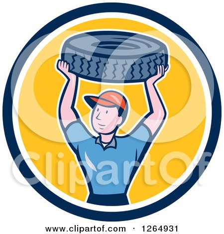 Clipart of a Cartoon Male Mechanic Worker Holding up a Tire in a Blue White and Yellow Circle - Royalty Free Vector Illustration by patrimonio