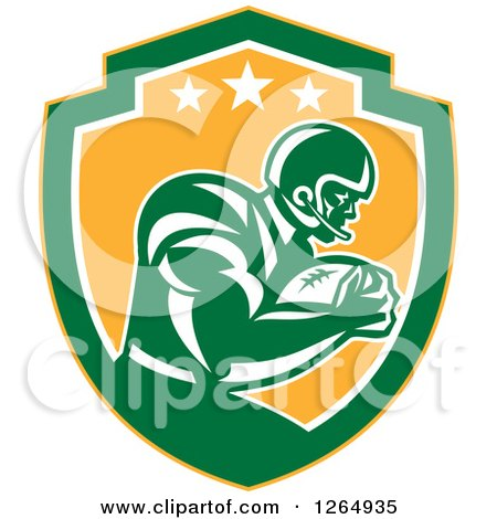 Clipart of a Retro American Football Player in a Yellow Green and White Shield - Royalty Free Vector Illustration by patrimonio