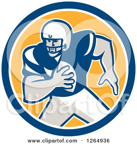 Clipart of a Retro American Football Player in a Blue White and Yellow Circle - Royalty Free Vector Illustration by patrimonio