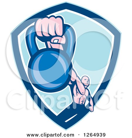 Clipart of a Retro Male Bodybuilder Working out with a Kettlebell in a Blue and White Shield - Royalty Free Vector Illustration by patrimonio