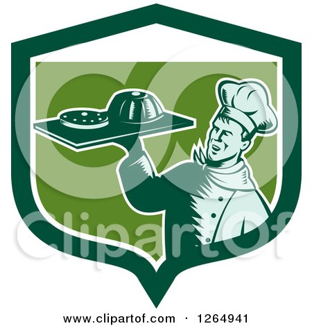 Clipart of a Retro Woodcut Male Chef Holding Gelatin or Cake on a Platter in a Green and White Shield - Royalty Free Vector Illustration by patrimonio