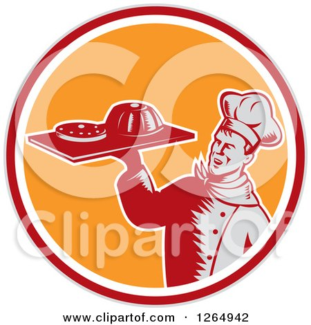 Clipart of a Retro Woodcut Male Chef Holding Gelatin or Cake on a Platter in a Gray Red White and Orange Circle - Royalty Free Vector Illustration by patrimonio