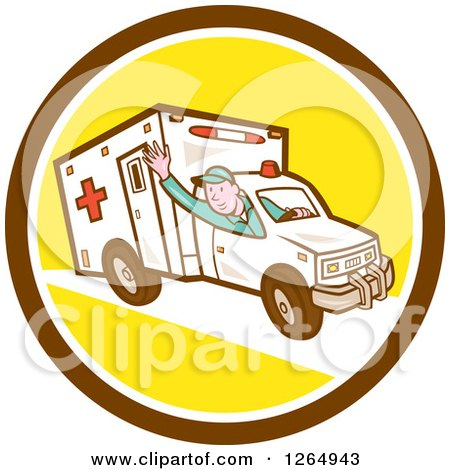 Clipart of a Retro Cartoon Ambulance Driver Waving in a Brown White and Yellow Circle - Royalty Free Vector Illustration by patrimonio