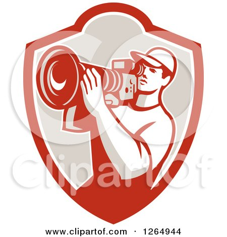 Clipart of a Retro Cameraman Filming in a Shield - Royalty Free Vector Illustration by patrimonio