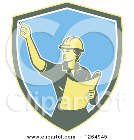 Clipart of a Retro Female Construction Worker Engineer in a Yellow Green White and Blue Shield - Royalty Free Vector Illustration by patrimonio