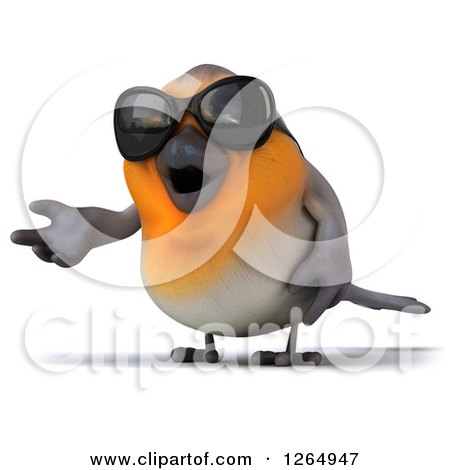 Clipart of a 3d Red Robin Bird Wearing Sunglasses and Presenting - Royalty Free Illustration by Julos