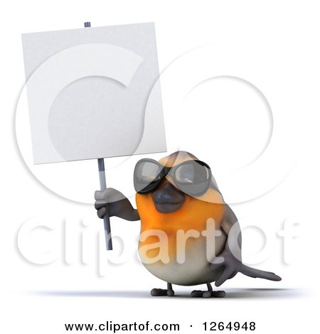 Clipart of a 3d Red Robin Bird Wearing Sunglasses and Holding up a Blank Sign - Royalty Free Illustration by Julos