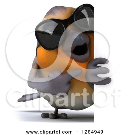Clipart of a 3d Red Robin Bird Wearing Sunglasses and Pointing Around a Sign - Royalty Free Illustration by Julos