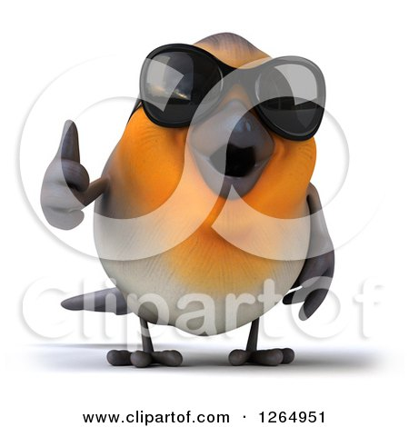 Clipart of a 3d Red Robin Bird Wearing Sunglasses and Giving a Thumb up - Royalty Free Illustration by Julos