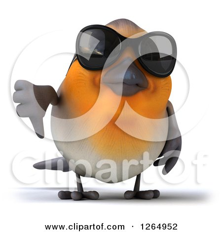 Clipart of a 3d Red Robin Bird Wearing Sunglasses and Giving a Thumb down - Royalty Free Illustration by Julos