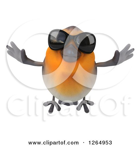 Clipart of a 3d Red Robin Bird Wearing Sunglasses and Flying - Royalty Free Illustration by Julos