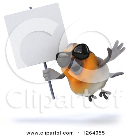 Clipart of a 3d Red Robin Bird Wearing Sunglasses and Flying with a Blank Sign - Royalty Free Illustration by Julos
