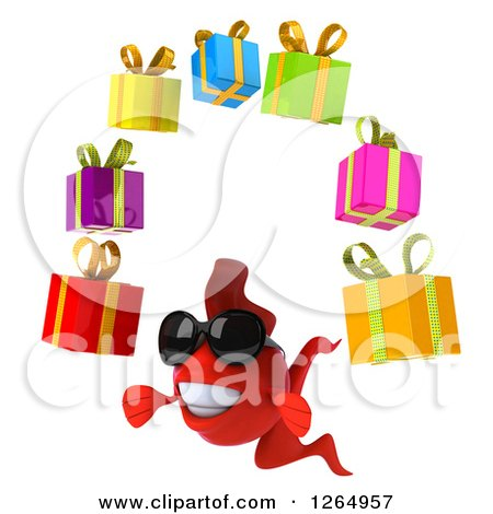 Clipart of a 3d Red Fish Wearing Sunglasses and Juggling Gifts - Royalty Free Illustration by Julos