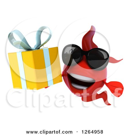 Clipart of a 3d Red Fish Wearing Sunglasses and Holding a Gift - Royalty Free Illustration by Julos