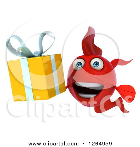 Clipart of a 3d Red Fish Holding a Gift - Royalty Free Illustration by Julos