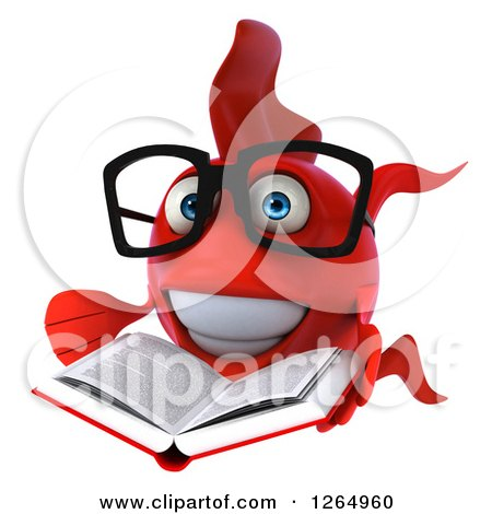 Clipart of a 3d Bespectacled Red Fish Reading a Book - Royalty Free Illustration by Julos