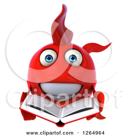 Clipart of a 3d Red Fish Reading a Book - Royalty Free Illustration by Julos