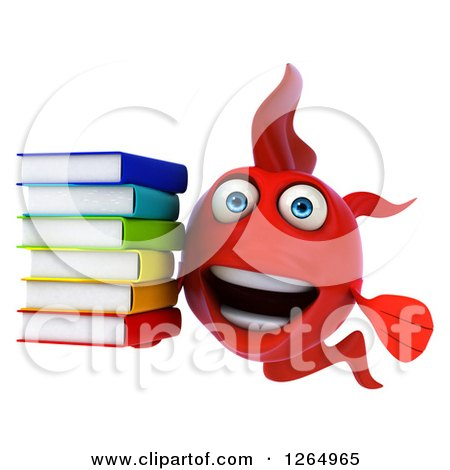 Clipart of a 3d Red Fish Holding a Stack of Books - Royalty Free Illustration by Julos