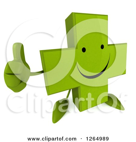 Clipart of a 3d Green Pharmaceutical Cross Character Giving a Thumb up - Royalty Free Illustration by Julos