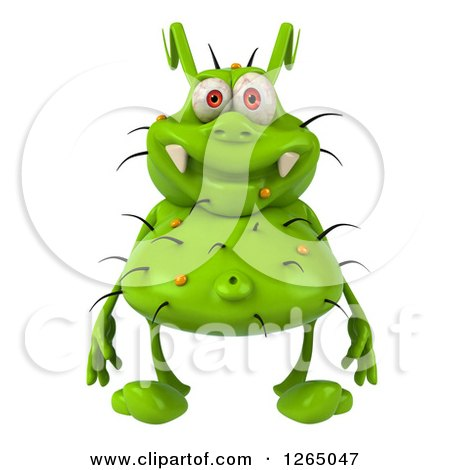 Clipart of a 3d Green Germ - Royalty Free Illustration by Julos