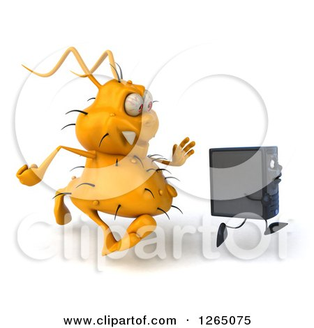 Clipart of a 3d Yellow Germ Virus Monster Chasing a Computer Tower - Royalty Free Illustration by Julos