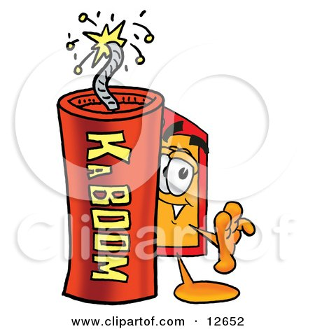 Clipart Picture of a Price Tag Mascot Cartoon Character Standing With a Lit Stick of Dynamite by Toons4Biz