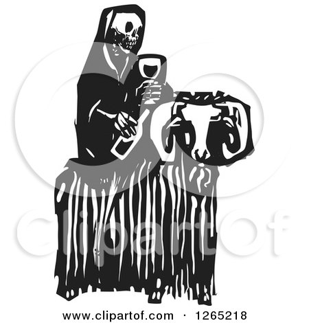 Clipart of a Black and White Woodcut Skeleton of Death Holding Wine and Sitting on a Ram - Royalty Free Vector Illustration by xunantunich