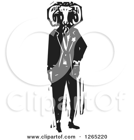 Clipart of a Black and White Woodcut Man Wearing a Ram Head Mask - Royalty Free Vector Illustration by xunantunich